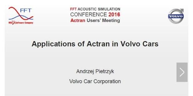 第四届Actran 用户大会汽车行业主题演讲回顾——沃尔沃乘用车NVH及声学仿真案例剖析