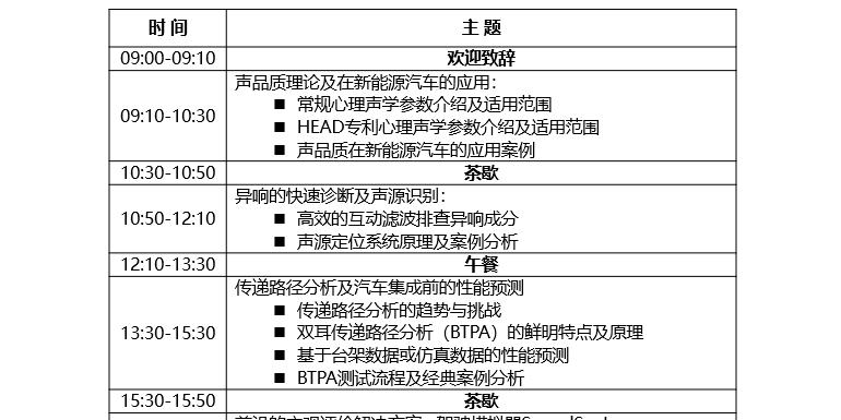 2019 NVH汽车行业全国巡回研讨会(上海/苏州北京/长春/重庆/武汉)